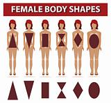 Female body shapes. Diet and fashion woman silhouettes set