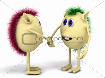 3d two character puppets shaking hands
