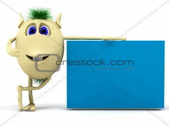 3d character  puppet with blank billboard