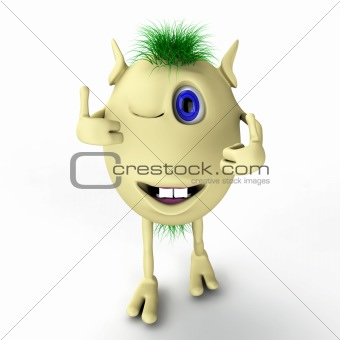 3d funny character puppet with thumbs-up