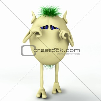 3d character is crying and depressed