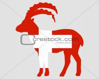 Flag of Switzerland with capricorn