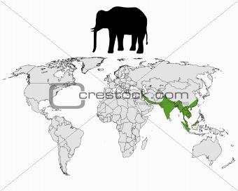 Asian elephant range