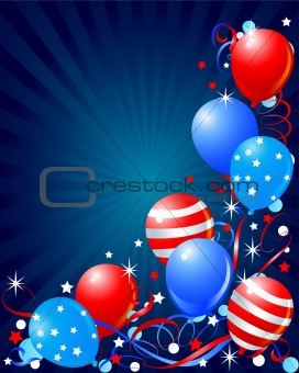 Balloons card for Fourth of July