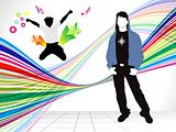 abstract colorful background with energetic boy