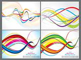abstract colorful wave background set
