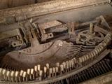 Rusty inky keys of an antique typewriter
