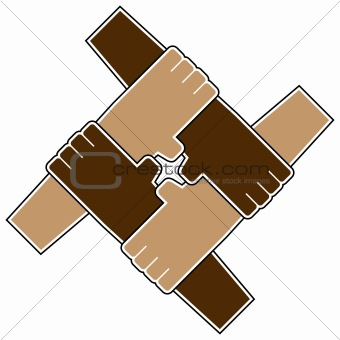Four hands teamwork symbol