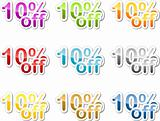 Ten percent off sticker