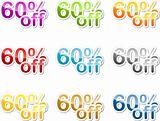 Sixty percent off sticker