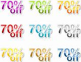 Seventy percent off sticker