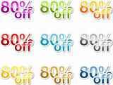 Eighty percent off sticker