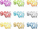 Ninety percent off sticker