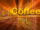 Coffee beverage background concept glowing