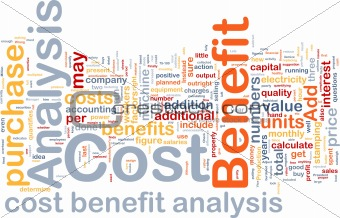 Cost benefit analysis background concept