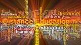 Distance education background concept glowing