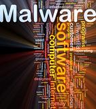 Malware background concept glowing