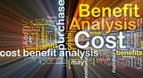 Cost benefit analysis background concept glowing