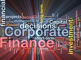 Corporate finance background concept glowing