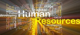 Human resources  is bone background concept glowing