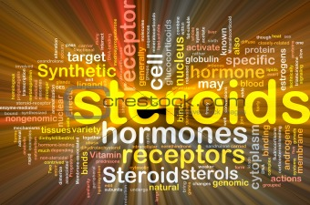 Steroids hormones background concept glowing