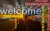 Welcome languages background concept glowing