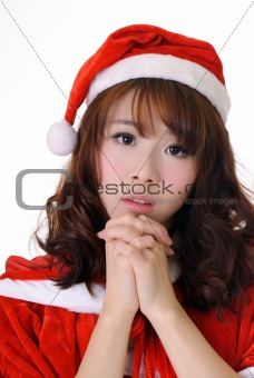 Attractive Asian Christmas girl
