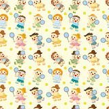 cartoon Tennis Players seamless pattern