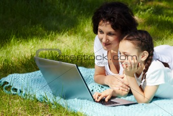 At leisure with laptop