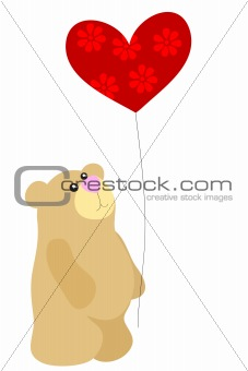 bear with heart balloon
