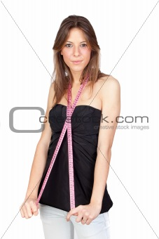 Attractive  girl with a tape-measure