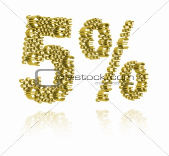 3D Illustration of  five percent