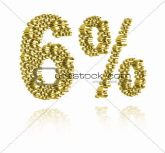 3D Illustration of  six percent