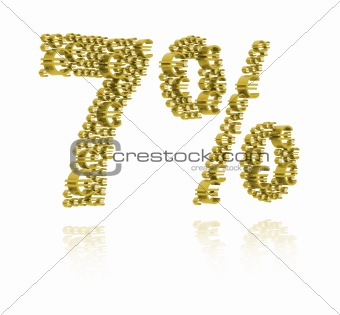 3D Illustration of  seven percent