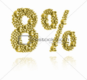 3D Illustration of eight percent
