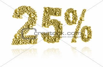 3D Illustration of twenty-five percent