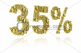 3D Illustration of thirty-five percent