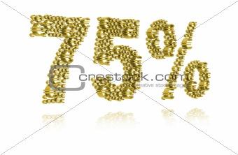 3D Illustration of seventy-five percent