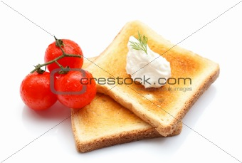 Toast with cottage cheese