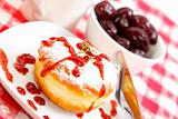 Sweet donut with jam