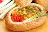 Goulash in bread bowl