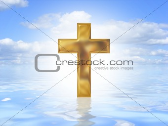 Gold cross on water
