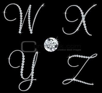 Graceful diamond alphabetic letters. Vector set 7