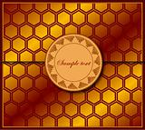 Orange background about honeycombs with label