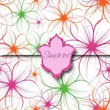 Flower Background with Label. Vector