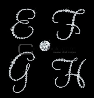 Graceful diamond alphabetic letters. Vector set 2