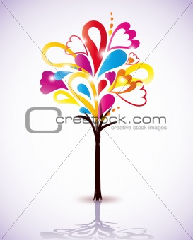 Painting colorful tree. Vector