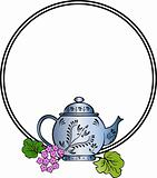 cute teapot with floral vector design