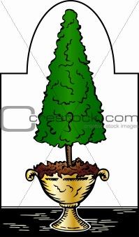 amenity tree in pot. Vector