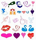 Set of hearts style details. Vector